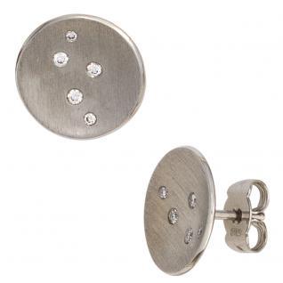 Ohrstecker rund 950 Platin matt 10 Diamanten Brillanten Ohrringe Platinohrringe