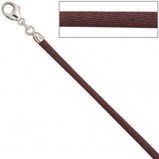 Collier Halskette Seide braun 2, 8 mm 42 cm, Verschluss 925 Silber Kette