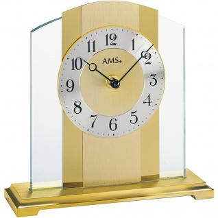 AMS 1119 Tischuhr Quarz golden Metall mit Messing und Glas