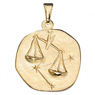 Anhänger Sternzeichen Waage 333 Gold Gelbgold Sternzeichenanhänger