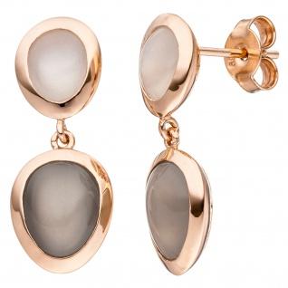 Ohrhänger 585 Gold Rotgold 4 Mondsteine Ohrringe Ohrstecker Mondstein