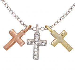Collier Kette mit Anhängern 3 Kreuze 925 Sterling Silber tricolor mit Zirkonia