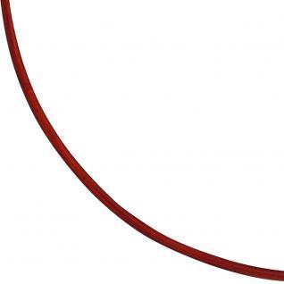 Collier Halskette Leder rot 925 Silber 42 cm Lederkette Karabiner - Vorschau 3