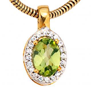 Anhänger oval 585 Gold Gelbgold bicolor 1 Peridot grün 20 Diamanten - Vorschau 2