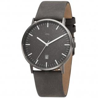 JOBO Herren Armbanduhr Quarz Analog Titan Lederband grau - Vorschau 1