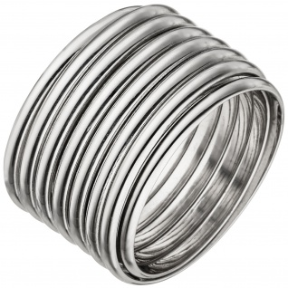 Damen Ring breit 925 Sterling Silber Silberring flexibel Spiralring Spirale