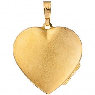 Medaillon Herz für 2 Fotos 925 Silber gold vergoldet Anhänger zum Öffnen - Vorschau 2