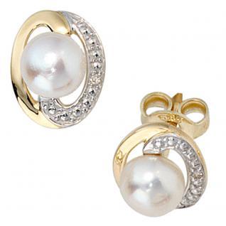 Ohrstecker 585 Gold Gelbgold 2 Diamanten Brillanten 2 Süßwasser Perlen Ohrringe