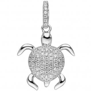 Anhänger Schildkröte 925 Sterling Silber mit Zirkonia Schildkrötenanhänger