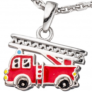 Kinder Anhänger Feuerwehrauto rot 925 Silber Feuerwehr Kinderanhänger - Vorschau 2