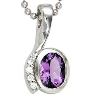 Anhänger 925 Sterling Silber rhodiniert mit Zirkonia lila violett - Vorschau 2