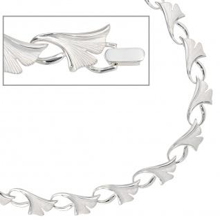 Collier Halskette Ginko Ginkgo 925 Silber mattiert 47 cm Kette Silberkette