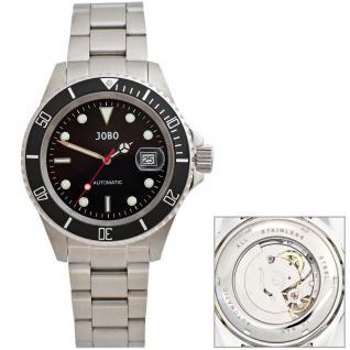 JOBO Herren Armbanduhr Automatik Edelstahl Glasboden Datum Herrenuhr