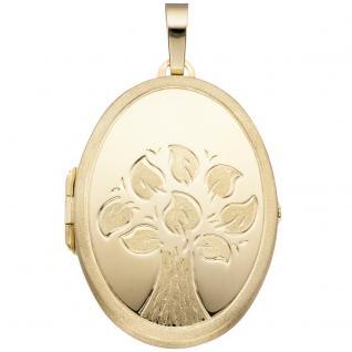 Medaillon Baum oval für 2 Fotos 585 Gold Gelbgold matt Anhänger zum Öffnen