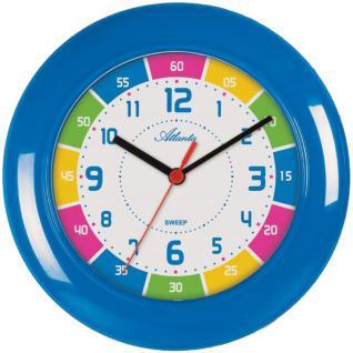Atlanta 4430/5 Wanduhr für Kinder blau bunt leise Kinderwanduhr ohne Ticken
