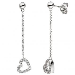 Ohrhänger Herz 925 Sterling Silber mit Zirkonia Ohrringe Herzohrringe
