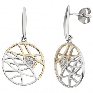 Ohrhänger 925 Sterling Silber bicolor vergoldet 10 Zirkonia
