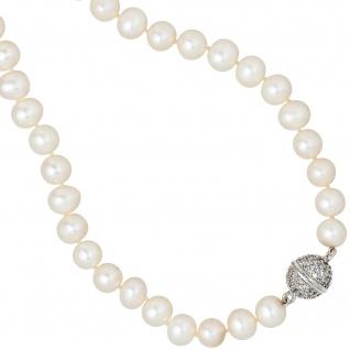 Collier Perlenkette Süßwasser Perle 45 cm mit Zirkonia Halskette Kette