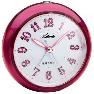 Atlanta 1725/8 Wecker Quarz pink metallic leise ohne Ticken mit Licht Snooze