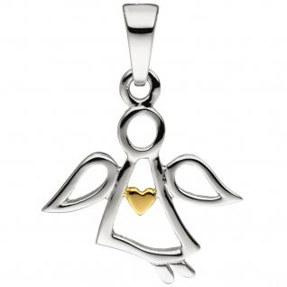 Anhänger Engel Schutzengel 925 Sterling Silber bicolor vergoldet Silberanhänger