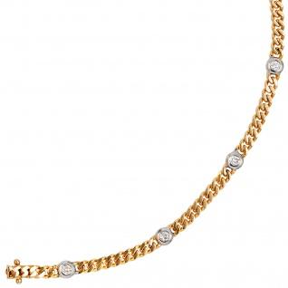 Armband 585 Gold Gelbgold Weißgold bicolor 6 Diamanten Brillanten 19 cm - Vorschau 5