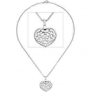 Collier Kette mit Anhänger Herz Herzen 925 Sterling Silber 45 cm Herzanhänger