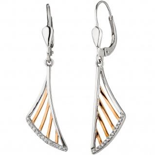 Ohrhänger 585 Gold Weißgold Rotgold bicolor 26 Diamanten Brillanten Ohrringe