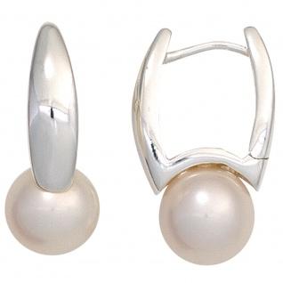 Creolen 925 Silber 2 Süßwasser Perlen Ohrringe Perlenohrringe