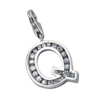 Einhänger Charm Buchstabe Q 925 Sterling Silber mit Zirkonia
