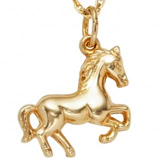Kinder Anhänger Pferd 333 Gold Gelbgold Pferdeanhänger Kinderanhänger - Vorschau 2