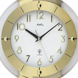 AMS 5267 Wanduhr Funk Funkwanduhr mit Pendel golden Pendeluhr mit Glas - Vorschau 2