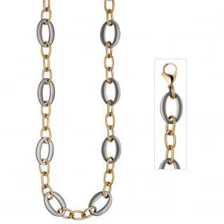 Collier Halskette aus Edelstahl gold farben beschichtet bicolor 47 cm Kette