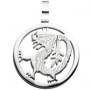 Anhänger Drache Drachen rund Edelstahl Drachenanhänger