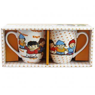 MAINZELMÄNNCHEN Kinder Becher-Set 2-teilig aus Keramik im Geschenkkarton