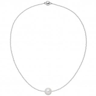 Collier Kette mit Anhänger Bergkristall Süßwasser Perle 925 Silber 43 cm