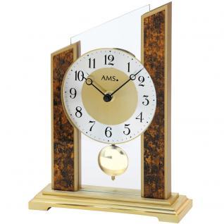AMS 1172 Tischuhr Quarz mit Pendel golden braun mit Glas und Kunstleder