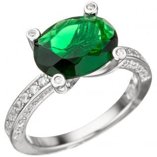 Damen Ring 925 Sterling Silber mit Zirkonia grün und weiß Silberring