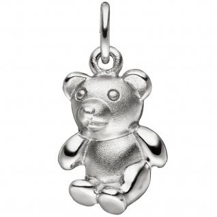 Kinder Anhänger Teddy Teddybär 925 Sterling Silber matt mattiert Kinderanhänger