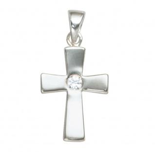 Anhänger Kreuz 925 Sterling Silber 1 Zirkonia Kreuzanhänger Silberkreuz