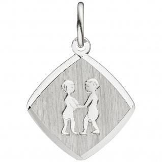 Anhänger Sternzeichen Zwilling 925 Sterling Silber matt Sternzeichenanhänger - Vorschau