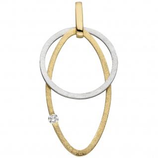 Anhänger 585 Gold Gelbgold Weißgold bicolor eismatt 1 Diamant Brillant