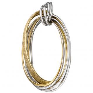 Anhänger oval 925 Sterling Silber rhodiniert gold vergoldet bicolor mattiert