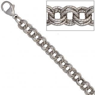 Zwillings-Ankerarmband 925 Sterling Silber mattiert 19 cm Armband Karabiner