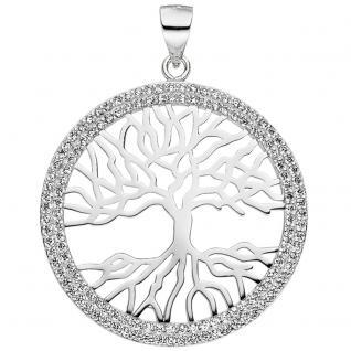 Anhänger Baum Lebensbaum 925 Sterling Silber mit Zirkonia Silberanhänger