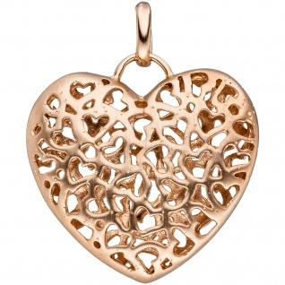 Anhänger Herz 925 Silber rotgold vergoldet Herzanhänger matte + glänzende Seite