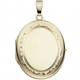 Medaillon oval 585 Gold Gelbgold Anhänger zum Öffnen - Vorschau 1