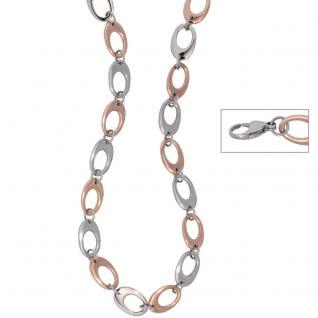 Collier / Halskette aus Edelstahl rotgold farben beschichtet bicolor 46 cm Kette
