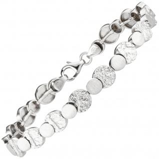 Armband 925 Sterling Silber gehämmert 19 cm Silberarmband