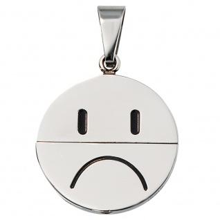 Anhänger Gesicht (lachend oder traurig) Edelstahl schwarze Lackeinlage - Vorschau 4