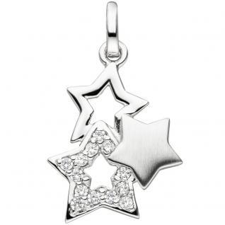 Anhänger Stern Sterne 925 Sterling Silber teil matt 13 Zirkonia Silbersterne